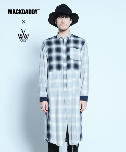 VIRGO×MACKDADDY special long shirts ロングチェックシャツ